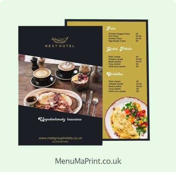 A4 Restaurant Menu