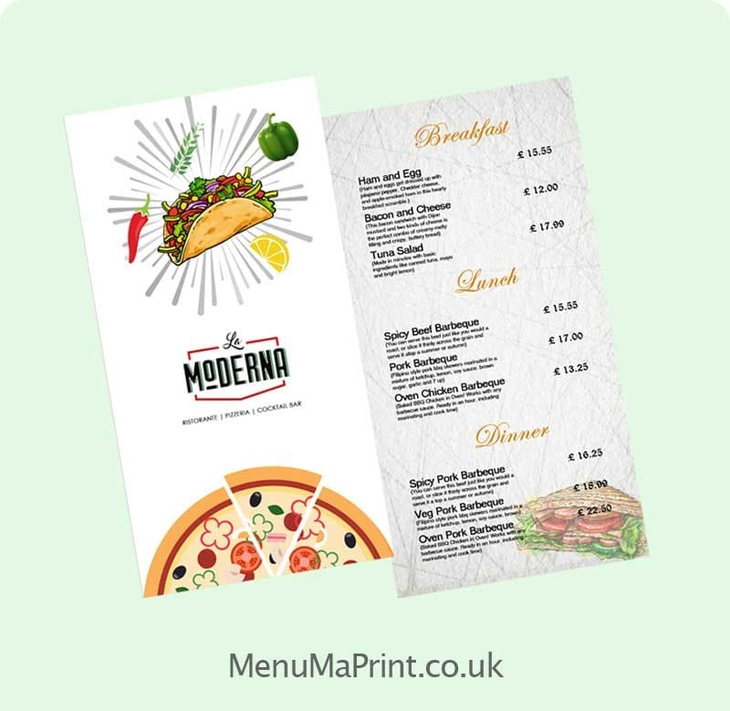 Menu Printing Services in London